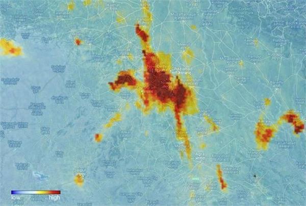 यूरोपियन सैटेलाइट ने तस्वीरों में दिखाया दिल्ली के प्रदूषण का स्तर