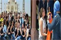 विदेशी मॉडल दुपट्टा मामला: ताजमहल के बाहर हिन्दूवादी संगठनों ने किया प्रदर्शन