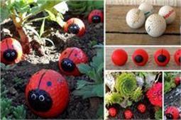 गोल्फ बॉल्स की मदद से बनाएं Ladybugs