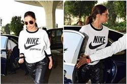 ब्लैक और व्हाइट लुक में एयरपोर्ट पर स्पॉट हुईं Deepika