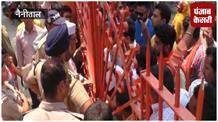गर्जिया मंदिर में हिंदूवादी संगठन का धरना, श्रद्धालुओं को मंदिर जाने से रोका