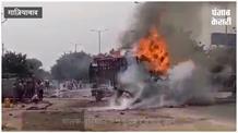 बीच सड़क पर चलते ट्रक में लगी भयावह आग, चालक-परिचालक ने कूदकर बचाई जान