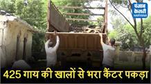 नूंह पुलिस ने गाय की खालों से भरा कैंटर पकड़ा, कैंटर से 425 गाय की खालें बरामद