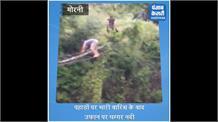 उफान पर घग्गर, जान जोखिम में डालकर नदी पार कर रहे ग्रामीण