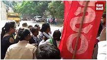 AIDSO ने किया ABVP के खिलाफ विरोध प्रदर्शन, रैली से भिड़े ABVP कार्यकर्ता
