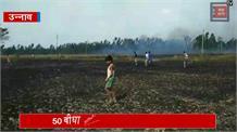 आग का कहर: खेत में गिराहाईटेंशन लाइन का तार, 50 बीघा गेहूं की फसल जलकर राख