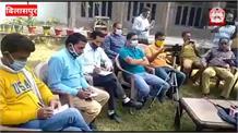 गोविंद सागर झील में डाला जा रहा रेलवे व फोरलेन प्रोजेक्ट का मलबा,रामलाल ठाकुर ने सरकार को दी चेतावनी