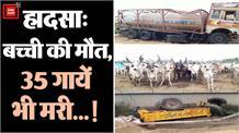 हादसे में कैमिकल से भरा टैंकर फ्लाईओवर से गिरा, बच्ची की मौत, कैमिकल रिसाव से 35 गायों की मौत