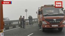 नेशनल हाईवे पर हादसा:  मधुबन फ्लाईओवर पर आपस में टकराए  5 ट्रक, लगा जाम