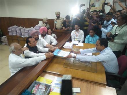Captain और KP ने दाख़िल करवाए Santokh Chaudhri के नामजदगी पत्र
