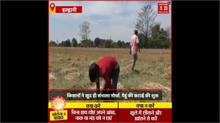 Lockdown में किसान Social Distancing के साथ कर रहे गेहूं की कटाई, सरकार से की मदद की मांगा