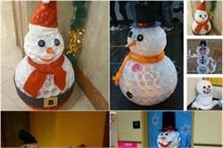 प्लास्टिक कपों से बनाएं Snowman
