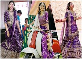 try these aubergine lehengas in wedding season it is a new trend