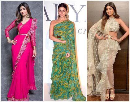 bollywood style ruffle saree