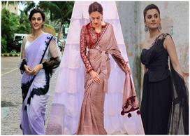 Different style saree of taapsee panu