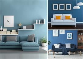 living room decoration with blue color