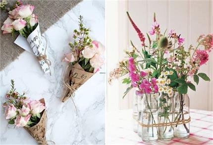वॉस या गमले में नहीं, क्रिएटिविटी के साथ करें Flowers से सजावट