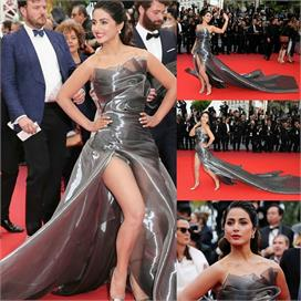 hina khan look super stylish in grey metallic gown for cannes 2019