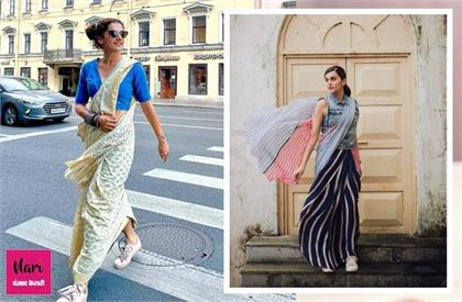 try sneakers with saree like taapsee pannu