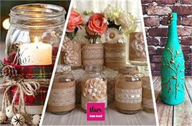 Home decoration idea with waste glass and jar
