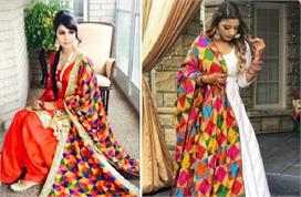 different phulkari dupattas designs