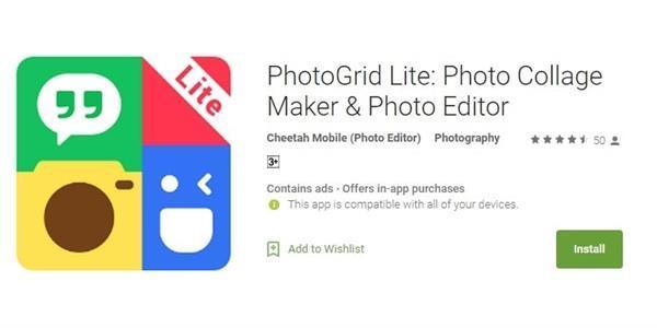 FREE में डाउनलोड करने के लिए भारत में उपलब्ध हुई PhotoGrid Lite एप्प