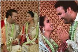 मैचिंग आउटफिट में नजर आए ईशा-आनंद, सीता-राम मिलन की धुन पर हुई जयमाला