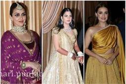 Isha-Anand Reception: पर्पल लहंगे में 'ईशा' तो येलो इंडो-वेस्टर्न ड्रेस में पहुंची 'दिया'