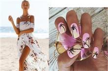 Beach Vacation पर जा रहे हैं तो ट्रैंडी Tropical Nail Art...