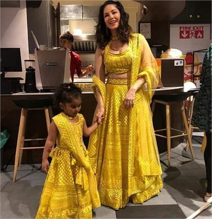 सनी और उनकी बेटी आई एक जैसी ड्रेस में नजर, तस्वीरें हुई वायरल
