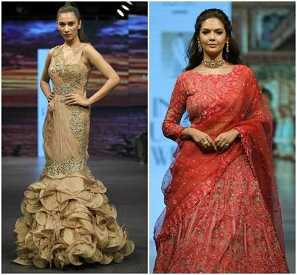 इंडिया रनवे वीकः रेड ब्राइडल लहंगे में रैंप पर उतरी ईशा गुप्ता, दूसरे...