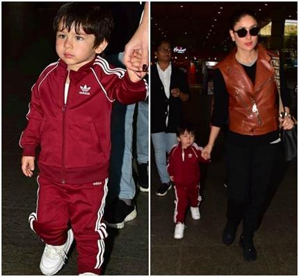 एयरपोर्ट पर मम्मी करीना के साथ स्पॉट हुए तैमूर, दोनों का दिखा अलग...