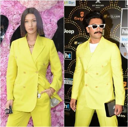 रणवीर सिंह या बेला हदीद, Dior के यैलो पैंटसूट में कौन दिखा परफेक्ट?