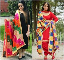different style phulkari dupatta designs