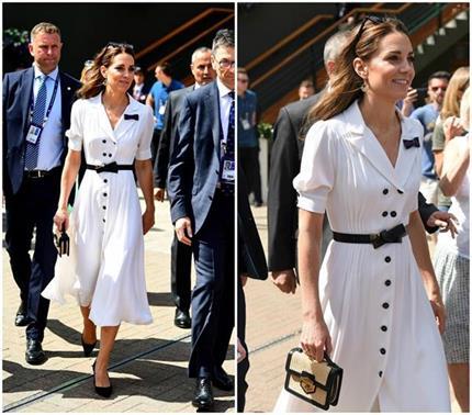 शाही फैशन: टेनिस टूर्नामेंट देखने पहुंची Kate, व्हाइट ड्रैस में लूटी...