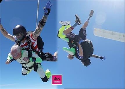 Wow! 103 साल के बुजुर्ग ने 14,000 फीट की ऊंचाई से लगाई छलांग, दिल छू...