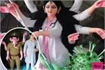 डॉक्टर बन 'कोरोनासुर' का वध करने आई दुर्गा मां, वाॅरियर बने भगवान गणेश