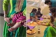 शिल्पा ने मनाई बेटी समीशा की पहली नवरात्रि, कन्याओं को...