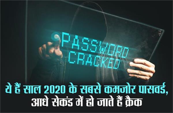 ये हैं साल 2020 के सबसे कमजोर पासवर्ड, आधे सेकंड में हो जाते हैं क्रैक