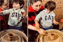 मम्मी करीना के साथ तैमूर ने बनाए मिट्टी के बर्तन, वायरल हो...