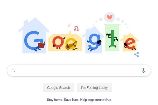 गूगल ने डूडल बना कर लोगों से कहा घरों में रहें, न निकलें बाहर