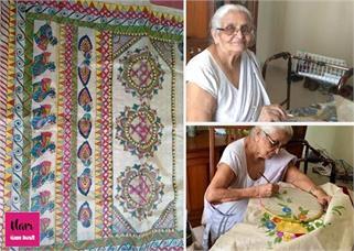 100 साल की दादी मां कर रही साड़ियों का...