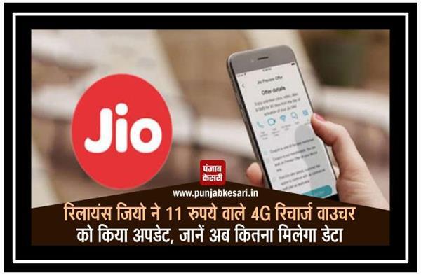 रिलायंस जियो ने 11 रुपये वाले 4G रिचार्ज वाउचर को किया अपडेट, जानें अब कितना मिलेगा डेटा