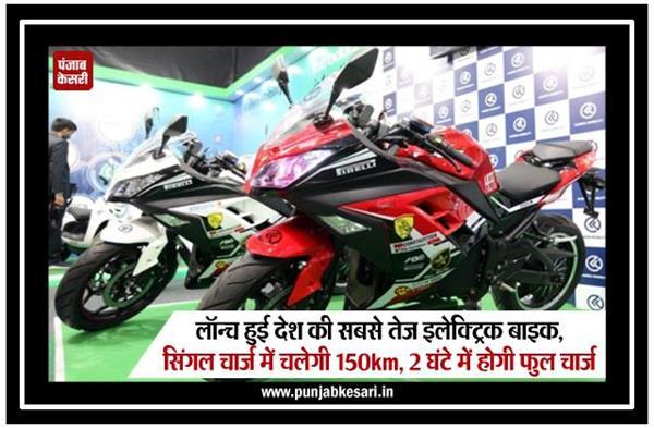 लॉन्च हुई देश की सबसे तेज इलेक्ट्रिक बाइक, सिंगल चार्ज में चलेगी 150km, 2 घंटे में होगी फुल चार्ज