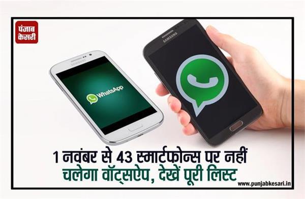 1 नवंबर से 43 स्मार्टफोन्स पर नहीं चलेगा वॉट्सऐप, देखें पूरी लिस्ट