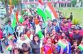 tricolor in hand   slogans of pakistan mudabad on juban