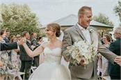 australia wedding guests wear blindfolds in support of blind bride