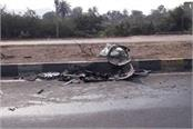 high speed car mangers uncontrolled truck collides  2 people dead