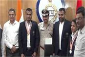 haryana police players honoured dgp bs sandhu
