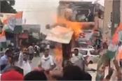 congress pm blows pm s statue in ambala over karnataka issue